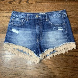 FREE PEOPLE Lace Trim Cut Off Shorts sz 28.